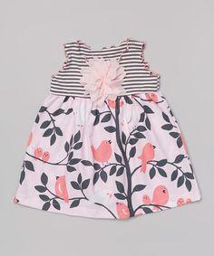 Look at this #zulilyfind! Pink & Gray Bird Lettuce Edge Swing Top - Toddler & Girls by SILLY MILLY #zulilyfinds