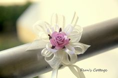 Wedding Hand Wrist Corsage Set - Mulberry Paper Rose Wedding Hand Wrist - 5 pcs