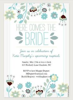 12 Bridal Shower Templates That You Won't Believe Are Free: Here Comes the Bride Printable Bridal Shower Invitation from Greetings Island