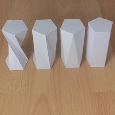 Paper models of twisted prisms Prisma Pentagonal, 3d Templates, Triangular Prism, Paper Crafts Origami, Cardboard Furniture, Paper Folding, Mold Making, Paper Models, Bottle Design