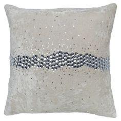 Ivory velvet pillow with a jewel-inspired stripe accent.  Product: PillowConstruction Material: Velvet