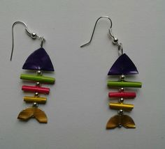 Polymer Clay Earrings, Beaded Earrings, Diy Jewelry, Jewelry Making, Diy And Crafts, Arts And Crafts, Men Necklace, Pisces, Tela