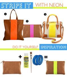 DIY neon striped Bag