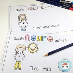 FRENCH Emergent Reader - quelle HEURE est-il? Read In French, Learn French, Teaching French, Teaching Writing, 1st Grade Math, Grade 1, French Worksheets, French Classroom, French Resources