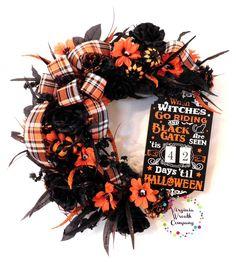 Halloween Countdown Wreath, Halloween Wreath, Halloween Door Decor, Halloween Door Hanger, Halloween Floral Wreath, Halloween Decor by VirginiaWreathCo on Etsy