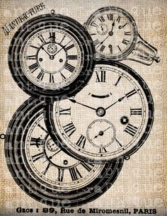 Antique Clock Steampunk Time Piece Illustration Digital Download for Tea Towels, Papercrafts, Transfer, Pillows, etc No 6651. $1.00, via Etsy.