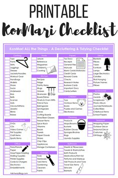Ask Away Blog: The Ultimate KonMari Decluttering + Tidying Checklist | FREE PRINTABLE