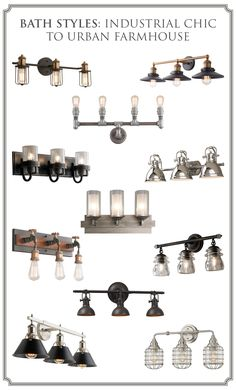 Browse farmhouse bathroom lights and farmhouse vanity light fixtures from Shades of Light! Shop styles like modern and black farmhouse vanity lights today. Industrial Bathroom Lighting, Bathroom Vanity Lighting, Industrial Chic, Farmhouse Bathroom Light, Farmhouse Vanity Lights, Vanity Light Fixtures, Simple Bathroom, Bathroom Ideas, Chic Bathrooms