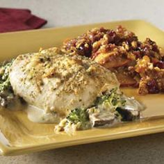 Broccoli Cheese Stuffed Chicken With Peach Cranberry Casserole I tried sample in Publix on Gornto Road in Valdosta, Ga; Excellent meal; good flavors; and great taste great.