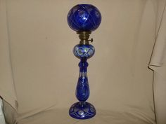 Vintage Bohemian Czech COBALT Cut to Clear by PastPossessionsOnly