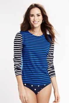 Women's Swim Tee SPF 50 from Lands' End. Great looking shirt that earns its price. The blue for Dark or True Winter. The pink and orange for the Bright Seasons.
