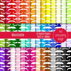 75% OFF Sale - Moustache - 42 Digital Papers - Instant Download - JPG 12x12 (DP218)