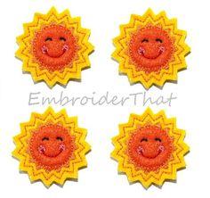 UNCUT Happy Sun felt applique embellishment by EmbroiderThat