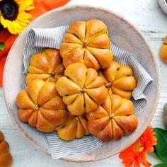 Cream Cheese Stuffed Pumpkin Dinner Rolls