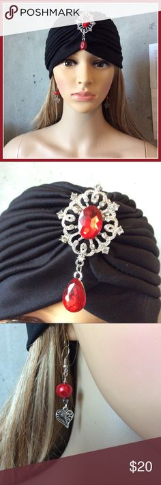 🍒 New Black turban w red gem & heart earrings As above Accessories Hats