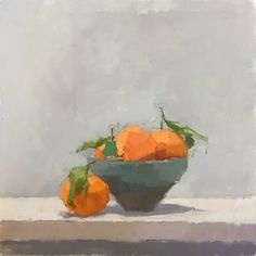 December Orange Bowl. Oil on linen #still-life #contemporary #art #painting #Orange #fruit