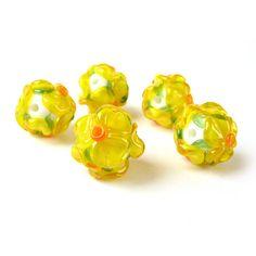 Glass Lampwork Bead Set, Handmade Glass Beads, Lampwork  Beads, Murano Glass, Floral Glass Beads Yellow