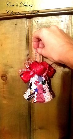 Christmas Bell, Kimekomi Bell, Colorful ornament, Unique decoration, Funny Christmas Tree Ornament, Gift for her, Unique gift, Patchwork This is a unique decoration a christmas bell, measures approx 9 cm-3,54 inches