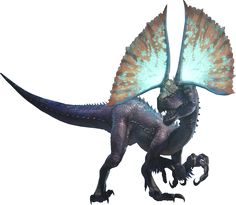 Tzitzi-Ya-Ku are Bird Wyverns first introduced in Monster Hunter: World. Tzitzi-Ya-Ku is a medium-sized Bird Wyvern of a navy blue coloration. It has long, powerful back legs, and muscular forelegs complete with three claws for grasping prey. Perhaps its most unique feature is the pair of retractable frills that line either side of its head, which are bright and vividly colorful in appearance. Its back is lines with a row of short spines, and it has wide, sturdy feet.