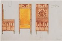 Kolo Moser: Draft drawings for the breakfast room of the apartment Eisler…