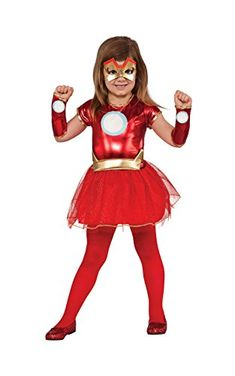 This Iron Girl Rescue Child Costume includes a tutu dress with metallic red top and glitter skirt, a pair of gauntlets, an eye mask and a gold belt, perfect for Halloween, comic book conventions and superhero themed parties year-round. Costumes Marvel, Girl Superhero Costumes, Superhero Fancy Dress, Toddler Costumes, Super Hero Costumes, Girl Costumes, Costumes For Women, Costume Ideas, Trendy Halloween
