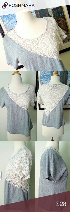 Anthropologie crochet blouse Beautiful delicate white crochet detail on a Heather gray t shirt from Staring at Stars. In excellent condition. Anthropologie Tops Blouses
