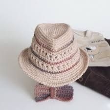 Fedora Hat and Bow Tie Set Crochet For Baby Toddler Boys Newborn Photo Props Shower Gift Infant Trilby Hat Sun Hat Cotton Cute Hats by Mila Crochet For Boys, Crochet Baby Hats, Free Crochet, Knit Crochet, Cowboy Crochet, Crochet Summer, Chapeau Trilby, Trilby Hats, Sombrero A Crochet