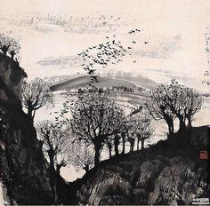 mountains - Chinese ink drawings of landscapes by Zhu Naizheng (朱 乃正)