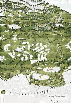Two million trees will encircle the city centre, preventing urban sprawl. Image Courtesy of Attu Studio