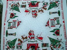 Vintage 1950s The Night Before Christmas Tablecloth Santa Reindeer Sleigh Rooftop Fireplace by BlackRain4, $79.99