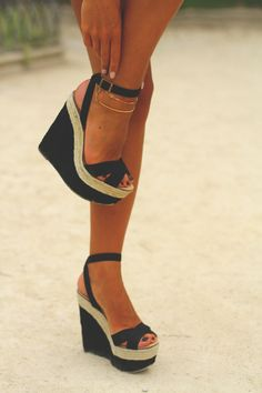 Ankle strap wedges.