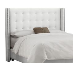 Button Tufted Headboard in White