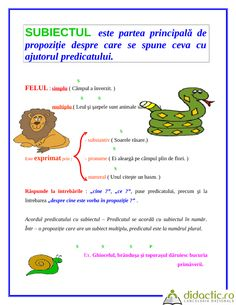 parti de propozitie | Didactic.ro Romanian Language, Teaching Grammar, School Games, Second Language, School Lessons, Kids Education, Diy For Kids, Alphabet, Kindergarten