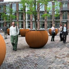 huge big globe planters with treees in corten steel Landscape Elements, Landscape Architecture, Landscape Design, Garden Design, Tree Planters, Potted Trees, Garden Planters, Planter Box Designs, Planter Boxes