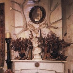 Chintz of Darkness: Obscured by Shrouds (A mantel after my own heart! Gothic Aesthetic, Aesthetic Bedroom, Rustic Mantel, Rustic Decor, Witch Cottage, Dark Witch, Goth Home Decor, Witch Decor, Dark Interiors