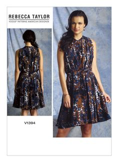 V1394 | Misses' Pleated Back-Button Dress Sewing Pattern | Vogue Patterns