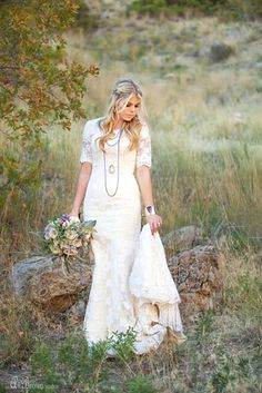 Emmie Gown by Elizabeth Cooper Design | Ali Brown Studios | modest wedding dress | modest | sleeves | lace | lace wedding gown | mermaid | trumpet | fit and flare | lace wedding dress with sleeves