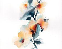 Alstroemeria florals watercolor painting ORIGINAL by CanotStop
