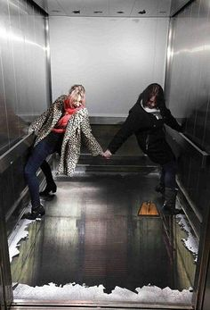 Broken Elevator 3D floor art. That would be freaky to walk into!