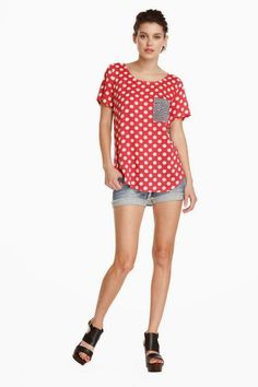 I like the red polka dot with contrast pocket. It's a little much and would need to be downplayed with a blazer but I like it.