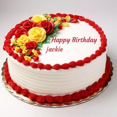 Write Name on Happy Birthday Rose Cake For Love.Your Name on Lovely White Cake With Rose Decoration.Happy Birthday Wishes To Dear Wife With Your Name Greetings Red Birthday Cakes, Birthday Cake Write Name, Online Birthday Cake, Happy Birthday Cake Photo, Happy Birthday Rose, Birthday Cake Writing, Birthday Wishes Cake, Happy Birthday Wishes Images, Happy Birthday Wallpaper