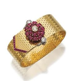 14 KARAT GOLD, RUBY AND DIAMOND BRACELET, TIFFANY & CO., CIRCA 1940, The strap of polished gold brickwork links decorated at one end with a floral cluster of round cabochon rubies and 3 round diamonds weighing approximately 1.50 carats, the opposite end set with calibré-cut rubies, length 7 ½ inches, signed Tiffany & Co.