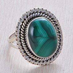 925 STERLING SILVER AMAZING MALACHITE 7.09g GEMSTONE ANTIQUE STYLE RING R014412 #Handmade #Ring