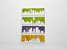 Custom city skylines/seattle/phoenix/kansas/moss design/green wall/ custom made/handmade/Easter present/lasercut design/wall decor Renaissance Artworks, Moss Art, City Skylines, Art Of Living, Sign Design, Wall Signs, Handmade Christmas, Eco Friendly, Custom Design