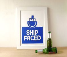 Ship Faced Screen Print, Funny drinking poster, beer poster, kitchen alcohol print, blue graphic screen print, gift for him, drunk poster by hello DODO on Etsy
