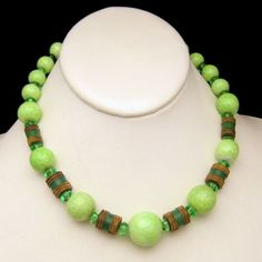 Mid Century Art Deco Style Green Glass Beads Vintage Necklace Mottled Brass Crystal Large Chunky