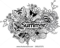 decorative illustration of a summer theme with exotic butterflies and flowers