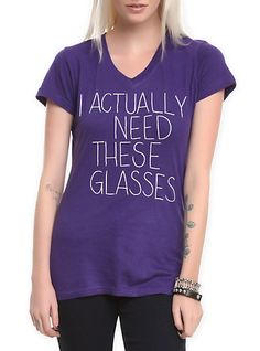I Actually Need These Glasses Girls V-Neck T-Shirt | Hot Topic