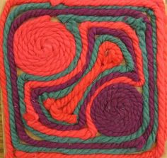 Huichol Inspired Yarn Painting, maybe try this on a smaller scale.