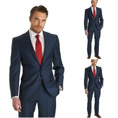Deep Red and Navy Blue Groomsman Attire